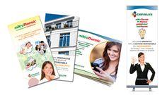 """Creazione del marchio, immagine coordinata e materiale cartaceo (brochure, pieghevoli, manifesti, forex, roll up, ec.) per """"Energysolving""""."""