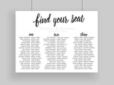 Custom Printable Seating Plan Chart // Long by TheSundaeCreative