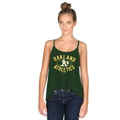 c4c857a2f0ead Women s Oakland Athletics Under Armour Green Performance Strappy Layer Tank  Top