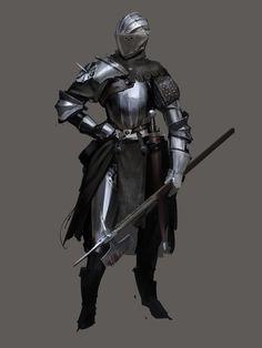 Knight by Nisetanaka Fantasy Character Design, Character Concept, Character Inspiration, Character Art, Medieval Armor, Medieval Fantasy, Fantasy Armor, Dark Fantasy, Armor Concept