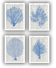 4 impresiones de Seafan Ocean Blue abanicos de mar por PrintLand