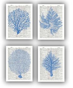 4 Ocean Blue prints Sea fan sea grass coral nautical by PrintLand, $28.50