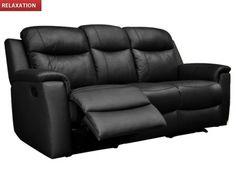 Canapé 3 places relax EVASION en cuir Noir prix promo Vente Unique 699,99 € TTC au lieu de 959.00 €