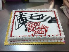 Music Sheet Cake by Stephanie Dillon Hy-Vee (birthday cake vintage) Music Birthday Cakes, Music Cakes, Violin Cake, Music Note Cake, Cakes By Stephanie, Sheet Cake Designs, Piano Cakes, Charlotte Cake, Different Kinds Of Cakes