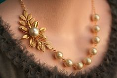 Pearl Necklace Gold Bridal Jewelry , Gold Wedding Jewelry,Bridesmaids Necklace, Pearl Necklace, Vintage Jewelry. $42.00, via Etsy.