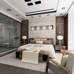 #moderno #diseñointerior de #habitacion con numerosos detalles decorativos en #techos #paredes e #iluminacion. #revestimientos Ve mas #ideas para #remodelar...