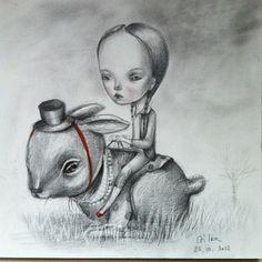 """ Sunday bunny ride"" 2013 pencil on paper, 20 x 20 cm."