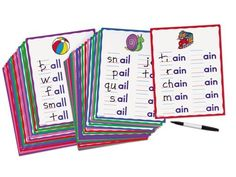 """Word Patterns Practice Cards by Lakeshore Learning Materials. $19.99. For ages 5-7 years. Practice cards help kids read and write hundreds of words-hands on. Children learn important language concepts and boost essential early writing skills. Write & wipe cards are perfect for repeated practice. Children add initial sounds to our handy practice cards...and form tons of words that share rhyming patterns! 40 cards each highlight a different word family...and the 8 1/2"""" x..."""