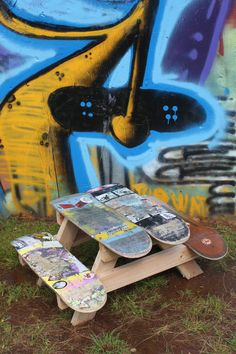 Children's Skateboard Picnic Table by IndiePopShop on Etsy. $225.00 USD, via Etsy.