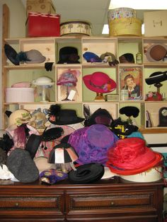 Vintage Hats and the Wine Box Wall Display at Tons of Treasures ~ Collectibles in Laguna Niguel ~