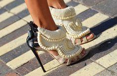 Kanye West for Guiseppe Zanotti black and white beaded sandals