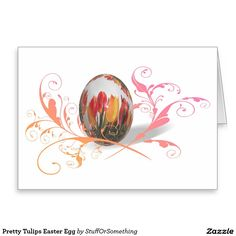 Pretty Tulips Easter Egg Greeting Cards (x2)