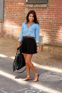 Chambray  black skater skirt & belt