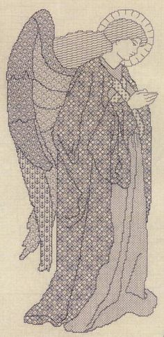 Pre-Raphaelite blackwork Angel by Mary Hickmott, from her New Stitches magazine. Need the chart.
