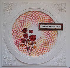 Hi Bloggers. Day 2 of Ally Pally today. Will you be there? Here's today's card - For the background, I popped the Spirelli Mask ont... Happy Anniversary, Stencils, Projects To Try, Birthday, Creative, Blog, Sue Wilson, Handmade Cards, Fingers