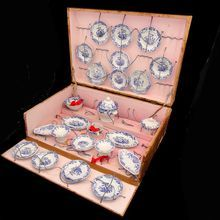 RARE Early French Miniature Dinner Set in Original Box By Keller & Guerin  Luneville, France 1890