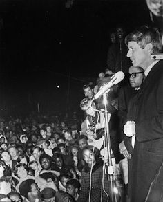April 4, 1968 -- On that cold and windy evening, Robert Kennedy broke the news of King's death in an impassioned, extemporaneous speech on the need for compassion in the face of violence.  It has proven to be one of the great speeches in American political history.  Although a number of cities erupted with riots following King's death, Indianapolis did not.