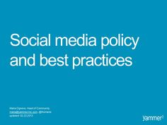 Social media policy & best practices