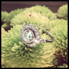 In this vintage-inspired engagement ring, a bezel-set center diamond floats above a halo of diamond accents bordered by an octagonal frame. Bezel-set baguette accents create a look of shimmering beauty (average total carat weight). Vintage Rings, Vintage Jewelry, Unique Vintage, Vintage Clothing, Vintage Art, Vintage Style, The Bling Ring, Tips Belleza, Dream Ring