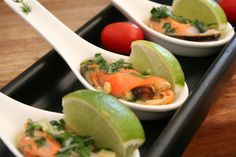 Rock mussel with lime and plum dressing
