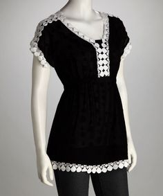 Take a look at this Black & White Lace Tunic by Sienna Rose on #zulily today!