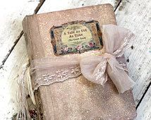 Fairytale wedding guest book -Blush pink,photo album, shabby chic Photo booth album or journal  - 9x6 inch custom made