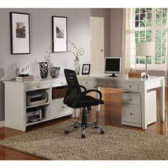 Parker House Boca L-Shaped Desk with Credenza - Cottage White - Computer Desks at Hayneedle