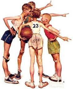 Oh Yeah - Four Sporting Boys-Norman Rockwell (1894 – 1978, American)