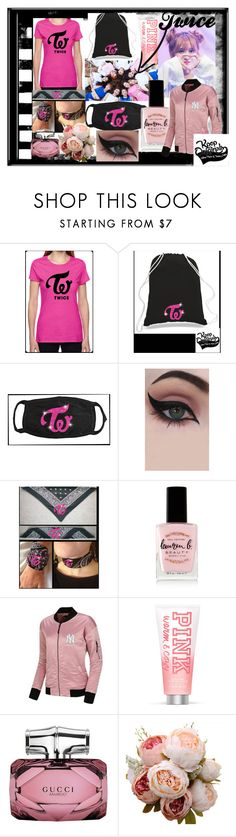 """""""Twice Kpop - Nayeon Jeongyeon Momo Sana Jihyo"""" by bee4735 on Polyvore featuring MoMo, 2nd Day, Concrete Minerals, Lauren B. Beauty, Victoria's Secret PINK and Gucci"""