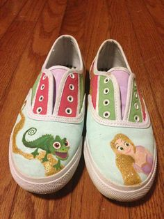 Disney's Tangled Inspired Rapunzel Painted Shoes on Etsy, $50.00