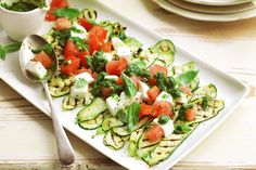 The flavours of zucchini and tomato with fresh cheese and a zippy herb sauce make it feel as though summer is never going to end. Make this a main meal with a platter of prosciutto or grilled fish.