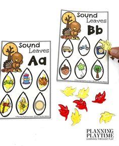 Identify, Match, & Cover Beginning Sound Leaves. - Kindergarten Morning Tubs