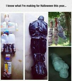 Fake dead body Halloween decoration.