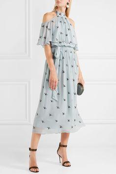 Temperley London | Starling cold-shoulder embellished chiffon midi dress | NET-A-PORTER.COM