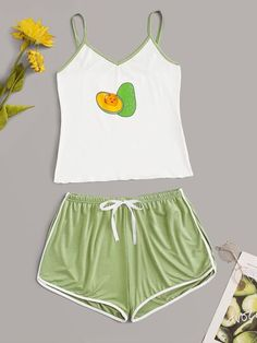 Shop Avocado Print Cami PJ Set at ROMWE, discover more fashion styles online. Cute Pajama Sets, Cute Pjs, Cute Pajamas, Pj Sets, Skater Girl Outfits, Summer Fashion Outfits, Tween Fashion, Girl Fashion, Cute Sleepwear
