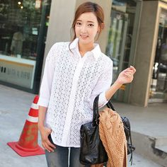 3/4-Sleeve Eyelet-Lace Blouse from #YesStyle <3 Cherryville YesStyle.com
