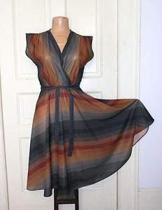 Vtg 70s Sexy Chevron SHEER Wrap Bust Full Skirt Grecian Disco Party Dress M 38