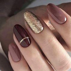 Almond nails for winter needle nail designs winter nails falling nails ho Ngel Plan Devil Stiletto Nail Art, Matte Nails, Acrylic Nails, Gold Nails, Gold Glitter, Coffin Nails, Oval Nails, Fall Nail Designs, Acrylic Nail Designs