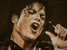 Schilderij Michael Jackson. Olieverf. Daisy van Montfort.