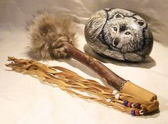 WOLF shaman drum beaters. by cloudsong on Etsy, $85.00