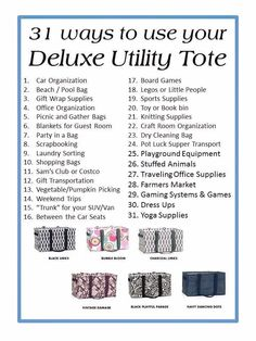 Uses for Thirty One Deluxe Utility Tote
