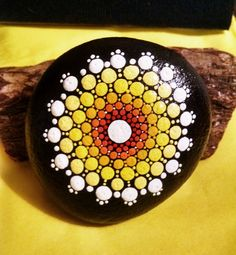 Large Stone Hand Painted by Miranda Pitrone ~ Beach Rock Mandala Dot Art ~Pointillism / Garden by P4MirandaPitrone on Etsy