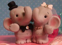 Hugging Elephants Never Forget Funny Cute Wedding Cake Topper Handmade Sculpture