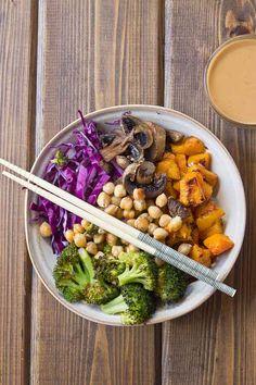 Abundance Bowls with Almond Butter-Lemon Dressing | Vegan & GF