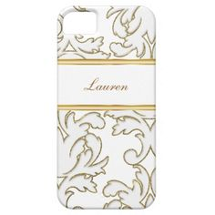 Damask monogram iPhone 5 cases with elegant gold and white damask pattern and monogram space you can add your name or initials printed on the case and a lot of style to carry your cell phone. Designed for women or girls and will protect your phone in a stylish way. Colors include gold and white.