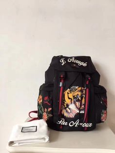 Gucci Embroidered drawstring backpack
