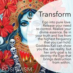 Goddess Kali is a strong divine feminine power that aims to destroy the human Ego. The Ego does not exist within the soul and the Higher… Spiritual Enlightenment, Spiritual Wisdom, Spiritual Growth, Spiritual Awakening, Divine Goddess, Kali Goddess, Mother Kali, Kali Ma, Foto Transfer