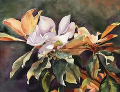 """Original watercolor painting titled """"Late Bloomer"""" of a lone magnolia blooming a little late in the season. Watercolor Projects, Watercolor And Ink, Watercolor Flowers, Watercolor Paintings, Watercolors, Art Floral, Water Flowers, Flower Art, Art Flowers"""