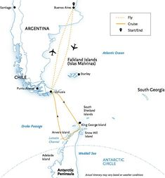 SOUTH AMERICA & ANTARCTICA itinerary map, refer to Cruise Details ...