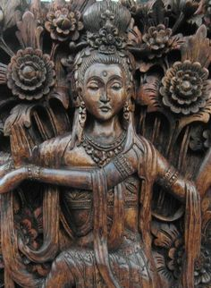 Kuan YinBuddhist Goddess of Compassion carved in by Nyoman Sumerta of Etsy shop SumertaDesigns, $1250.00
